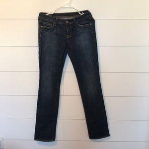 Straight leg jeans.